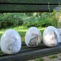 Jajko ceramiczne białe z motywem króliczka Ø12,5cm H16cm 2szt.