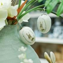 Jajko do zawieszenia ceramiczne białe króliczek Ø5,5cm H7,6cm 12szt.