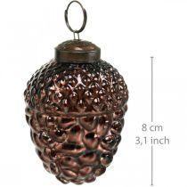 Acorn Szklany Brązowy Dekoracyjny Stożek Wiszący Dekoracja Adwentowa 5,5×8cm 12szt