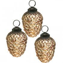 Acorn Glass Golden Vintage Deco Cone Christmas Tree Ornament 5,5×8cm 12szt