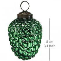 Żołądź Szklany Zielony Jesień Dekoracja Stożek Choinka Ornament 5,5×8cm 12szt