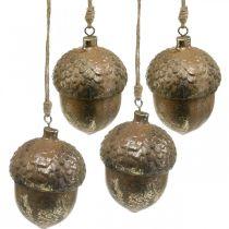 Zawieszka dekoracyjna żołądź, jesienny owoc, ozdoba choinkowa z dekorem złotym H8cm Ø6cm 4szt.