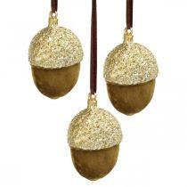 Żołędzie do powieszenia, adwentowe, ozdoba na drzewo, dekoracja jesienna H6,5cm Ø4cm 6szt.
