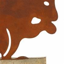 Rdza wiewiórki na drewnianej podstawie 19cm x 25cm