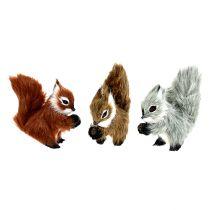 Wiewiórka na klipsie 8cm różne kolory 3szt.