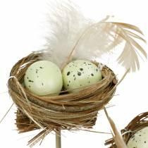 Korek dekoracyjny gniazdo ptasie, dekoracja wielkanocna, gniazdo z jajkami 23cm 6szt.