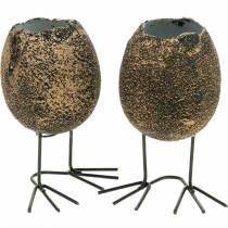 Jajko do sadzenia z nogami, jajko wielkanocne, jajko z ptasimi łapkami, dekoracja wielkanocna czarna złota 4szt.