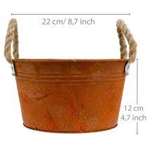 Metalowa doniczka z uchwytami z liny, doniczka, jesień, stal nierdzewna Ø22cm H12cm