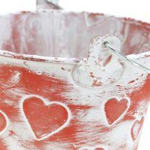 Dekoracyjne wiaderko serce dekor, metalowe naczynie, Walentynki, Henkeleimer Ø12cm