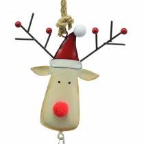 Świąteczna zawieszka głowa łosia z dzwoneczkiem 11,5cm czerwony, beżowy 3szt