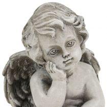 Deco Anioł w szarościach siedzący 13,5cm 2szt.