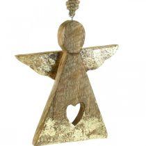 Dekoracyjny aniołek z drewna mango figurka wisząca 13×H13,5cm 2szt.
