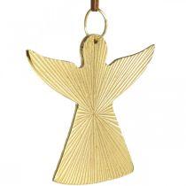 Aniołek dekoracyjny, metalowa zawieszka, ozdoba świąteczna Złota 9×10cm 3szt.