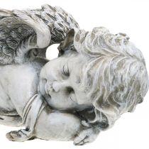 Dekoracja Grobu Anioł Śpiący Anioł Grobu Szary Poliresin 39×14x13cm