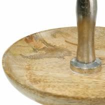 Etagere drewno mango / srebrny nikiel dekoracja z prawdziwego drewna, dwupoziomowe