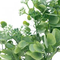 Dekoracje Ślubne Sztuczne Gałązki Eukaliptusa z Kwiatami Bukiet Dekoracyjny Zielony, Biały 26cm