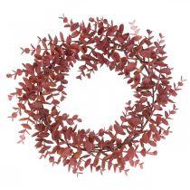 Deco Wieniec Eukaliptusowy Czerwony Sztuczny Wieniec Eukaliptusowy Ø32cm