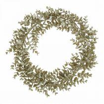 Deco Wianek Sztuczny Eukaliptus Złoty, Śnieżny Ø36cm