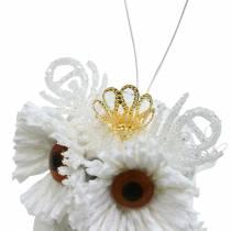 Dekoracyjna sowa z koroną do powieszenia biała, brokat 6,5 × 8cm 6szt.