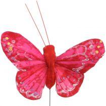Motyl piórko pomarańczowo-czerwone 5cm 24szt.