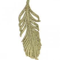 Piórka dekoracyjne, ozdoby choinkowe z brokatem, dekoracja adwentowa, piórka do zawieszenia Złote L22cm 12szt.