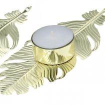 Świecznik na piórku, metalowa dekoracja, świecznik, dekoracja adwentowa Złoty Ø2,2cm L13cm 4szt.