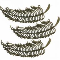 Piórka dekoracyjne, zawieszki dekoracyjne, piórka metalowe, dekoracja rozproszona kolor brązowy L8cm 10szt.