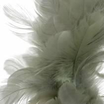 Deco Feather Wreath Grey Ø18cm Dekoracja Wielkanocna Prawdziwe Pióra
