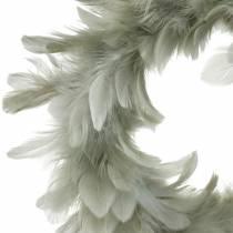 Dekoracje Wielkanocne Wianek z Piór Szary Ø18cm Prawdziwe Pióra