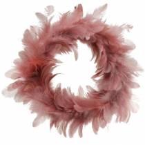 Dekoracja wielkanocna wianek z piór stary różowy Ø25cm dekoracja wiosenna
