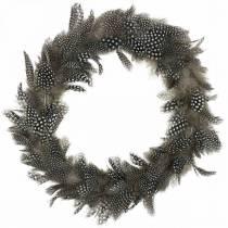 Wianek z piór perliczki Prawdziwe piórka Ø35cm Dekoracja wielkanocna Wiosenna dekoracja