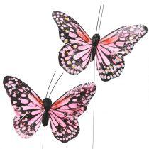 Motyl na druciku różowy 11cm 12szt