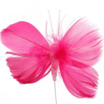 Feather Butterflies Pink/Pink/Red, ozdobne motyle na drutach 6szt.