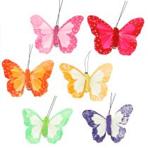 Motyle piórka na klipsie kolorowe 7cm 12szt