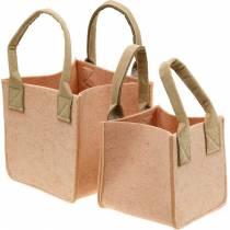 Doniczka z filcu Różowa torebka z filcu z uchwytami Dekoracja z filcu Zestaw 2
