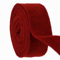 Taśma filcowa ciemnoczerwona 7,5cm 5m