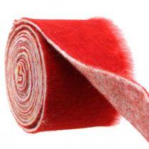 Taśma filcowa Deco Two Tone Red, White Pot Tape Christmas 15cm×4m
