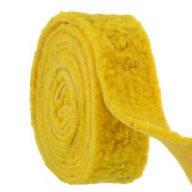"""Wstążka filcowa """"Happy"""" żółta 7,5cm 5m"""