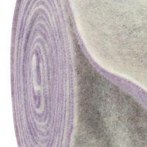Taśma filcowa 15cm x 5m dwukolorowa jasnofioletowa, biała