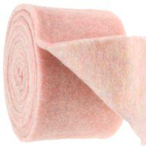 Taśma filcowa, doniczkowa dwukolorowa biała/różowa 15cm 5m