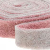 Taśma garnkowa, taśma dekoracyjna filcowa stara różowa / szara W4,5cm L5m