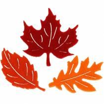 Dekoracja rozproszona jesienne liście filcowe czerwone, pomarańczowe 3,5cm 36szt
