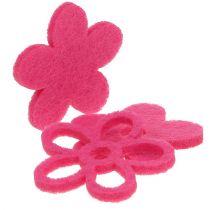 Filcowy kwiatek do rozsypania różowy jako zestaw dekoracyjny Ø4cm 72szt.