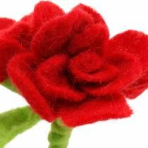 Kwiatek filcowy 15cm z 3 kwiatkami