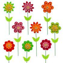 Filcowy kwiat jako wtyczka kolorowy asortyment. 7cm L25cm 18szt.
