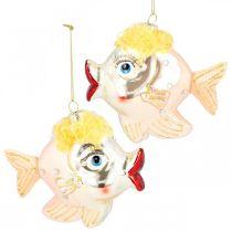 Ozdoba choinkowa rybka, zawieszka ozdobna, dekoracja świąteczna prawdziwe szkło H9,5cm 2szt.