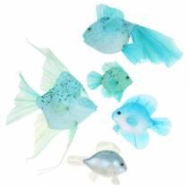 Ozdobne rybki do zawieszenia niebieskie turkusowe zielone szare 10-22cm 5szt.