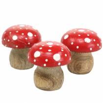 Muchomorki dekoracyjne drewniane Ø4,6-5cm H4,6-4,9cm 6szt.