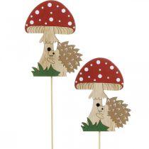 Korek dekoracyjny, jesienna dekoracja drewniana, jeż z grzybem H11cm L34cm 12szt.