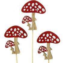 Muchomorki wykonane z drewna, dekoracja grzybowa, jesienna, patyczki kwiatowe H7cm L34cm 18szt.